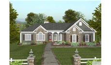 This image is the front elevation of these Craftsman Ranch House Plans.