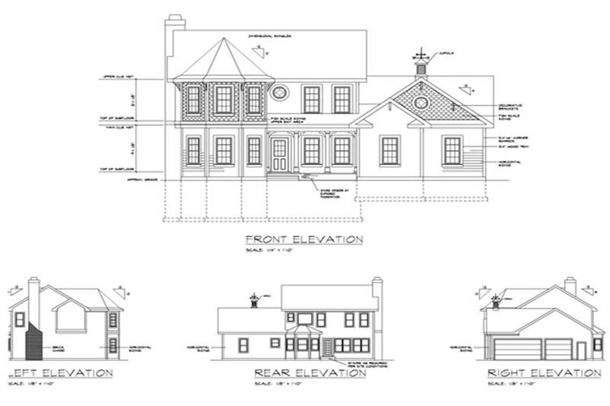 Home Plan Rear Elevation of this 4-Bedroom,1897 Sq Ft Plan -109-1040