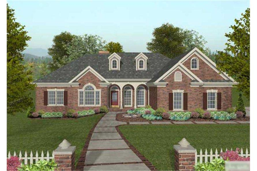 This is a computerized front elevation for these Traditional Ranch Houseplans.