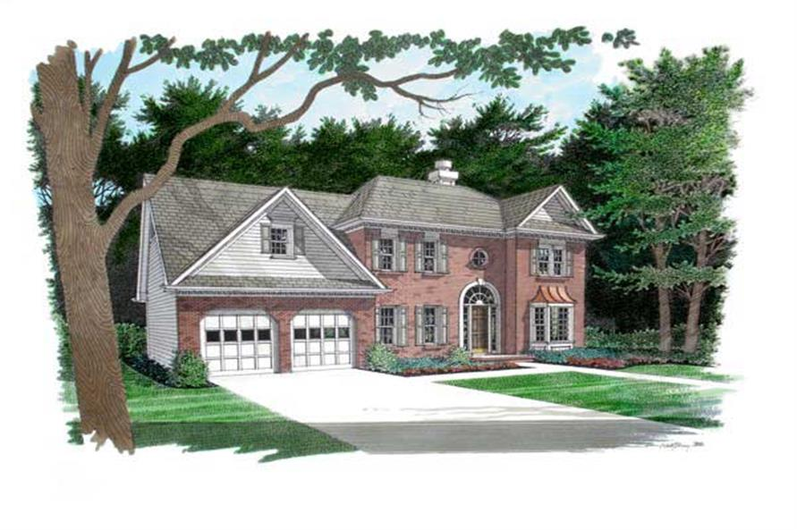 This is a colored front rendering of these Traditional Homeplans.