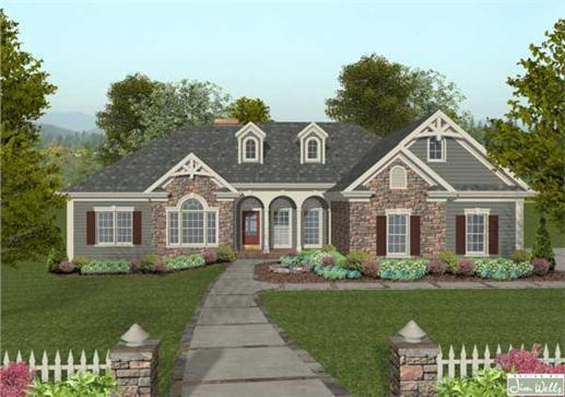 This is a computer rendering of these Craftsman Ranch Homeplans.