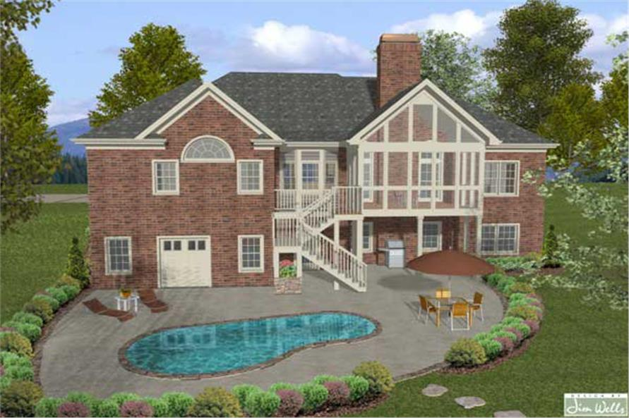 Home Plan Rear Elevation of this 4-Bedroom,2000 Sq Ft Plan -109-1047