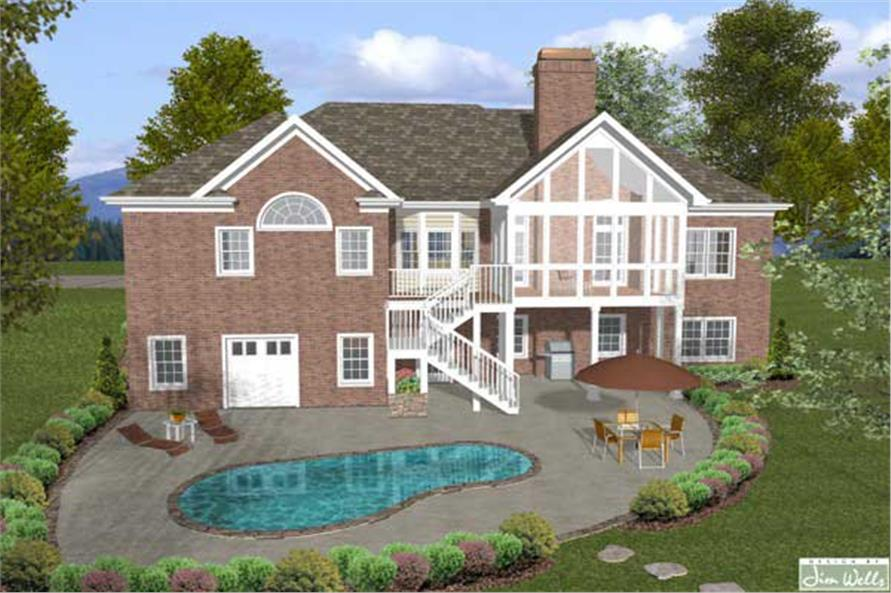 Home Plan Rear Elevation of this 4-Bedroom,2000 Sq Ft Plan -109-1048