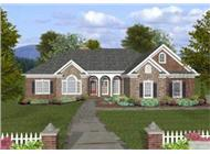 This is a colorful rendering of the front of these Traditional Ranch Homeplans.