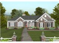 This is a front elevation of these Ranch House Plans.