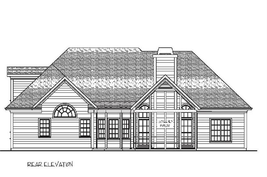 Home Plan Rear Elevation of this 4-Bedroom,2000 Sq Ft Plan -109-1049