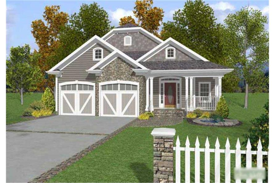 This is a colored computer rendering of these Craftsman House Plans.
