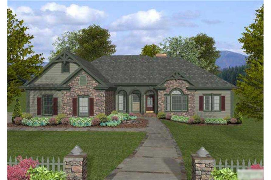 This is a computerized image showing the front elevation of these Craftsman House Plans.