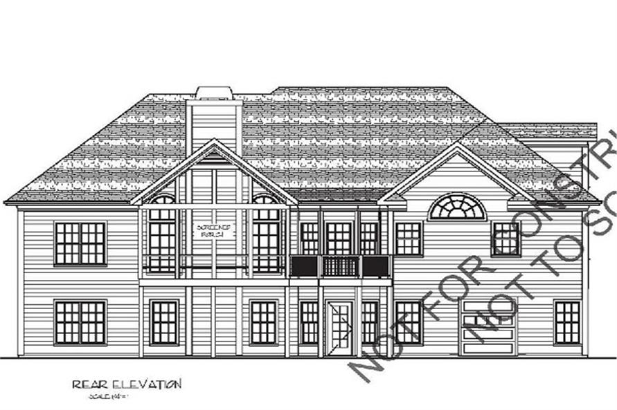 Home Plan Rear Elevation of this 4-Bedroom,2000 Sq Ft Plan -109-1053