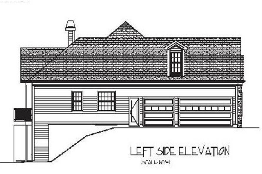 Home Plan Left Elevation of this 4-Bedroom,2000 Sq Ft Plan -109-1053