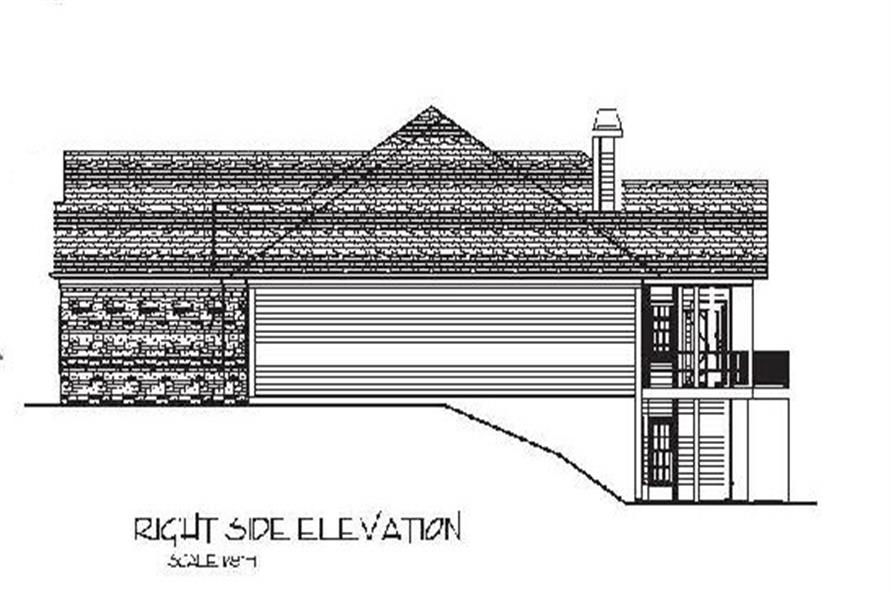 Home Plan Right Elevation of this 4-Bedroom,2000 Sq Ft Plan -109-1053
