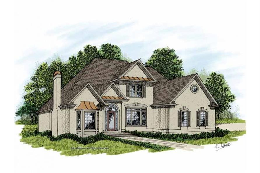 3-Bedroom, 3512 Sq Ft European House Plan - 109-1055 - Front Exterior