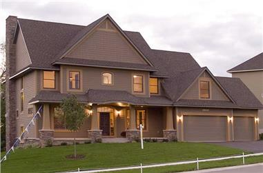 This is a color photo of these Craftsman House Plans.