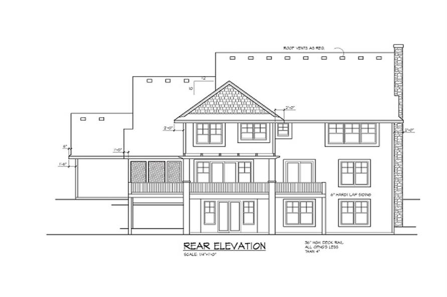 Home Plan Rear Elevation of this 4-Bedroom,3770 Sq Ft Plan -109-1056