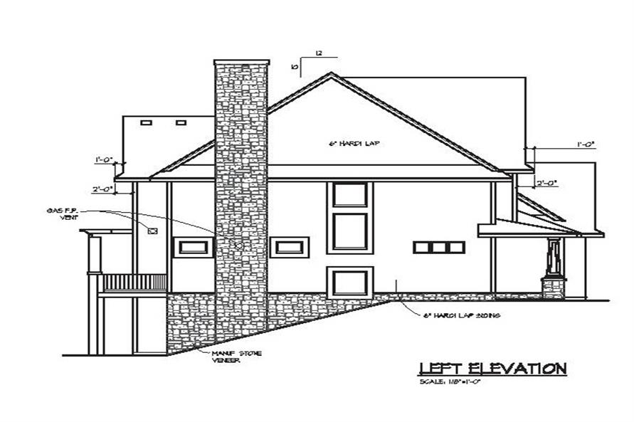 Home Plan Left Elevation of this 4-Bedroom,3770 Sq Ft Plan -109-1056