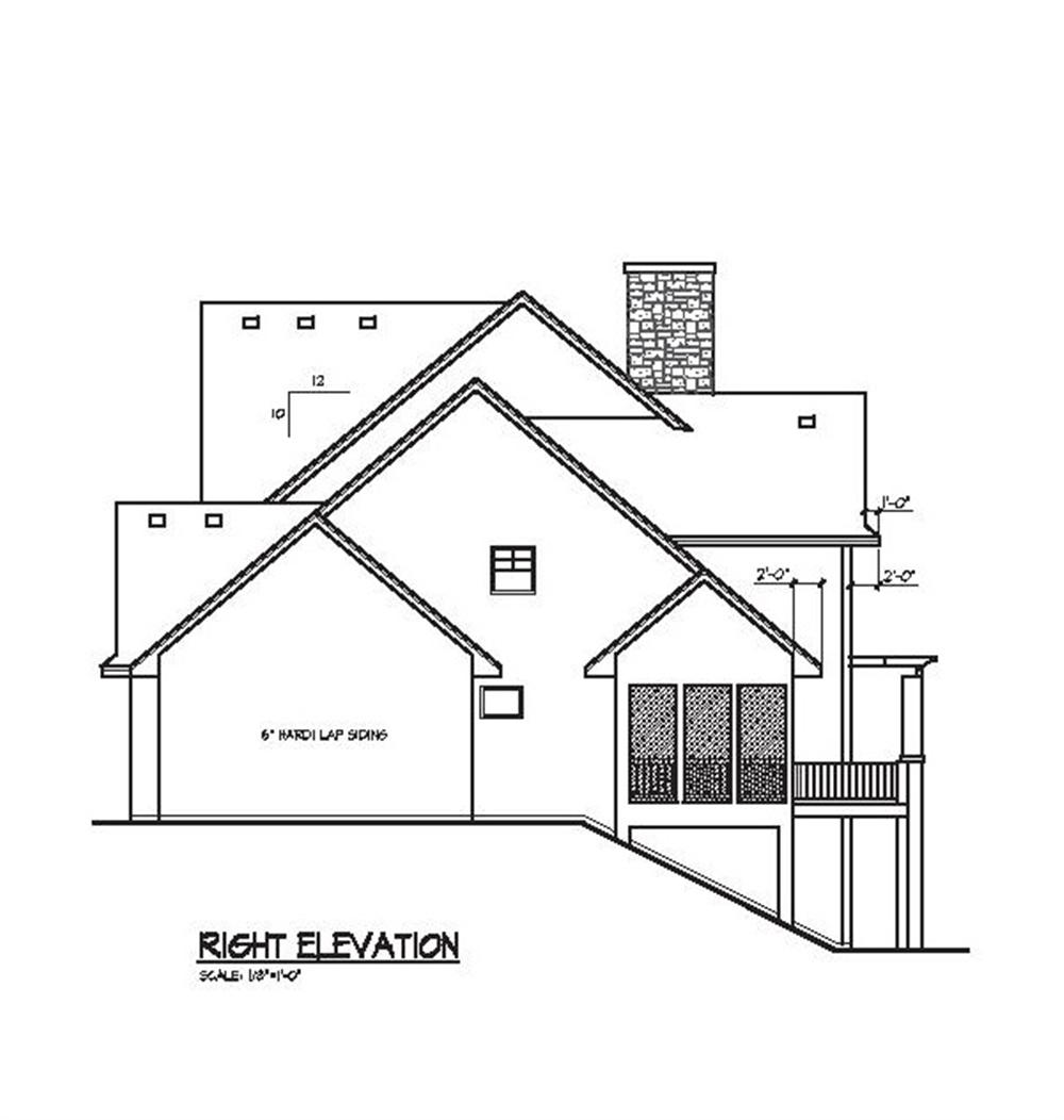 109-1056 house plan right elevation