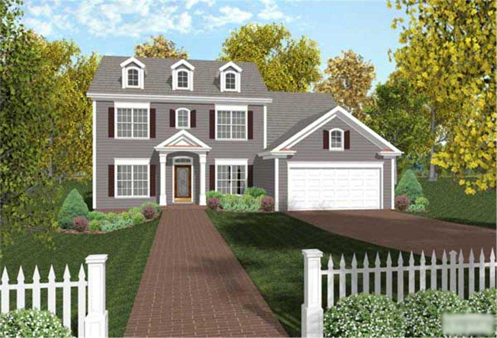 Colonial house plan 4 bedrms 3 baths 2097 sq ft for Dutch colonial garage plans