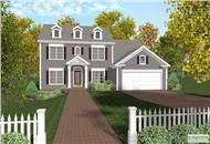 This image is the front elevation of these Colonial House Plans.
