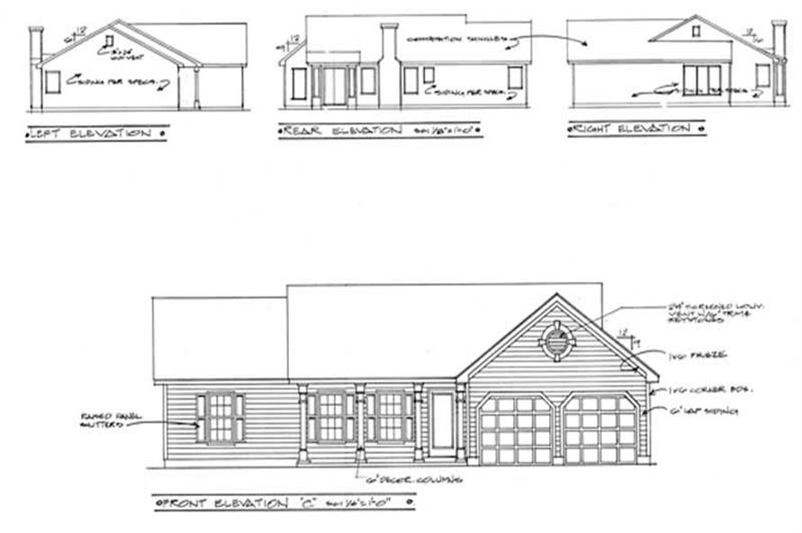 Home Plan Rear Elevation of this 3-Bedroom,1414 Sq Ft Plan -109-1061
