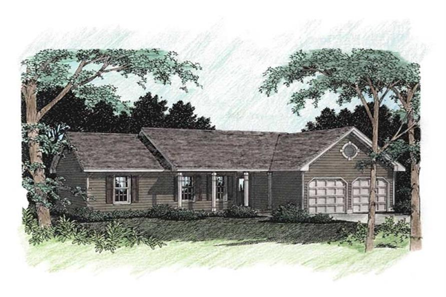 3-Bedroom, 1414 Sq Ft Ranch Home Plan - 109-1061 - Main Exterior