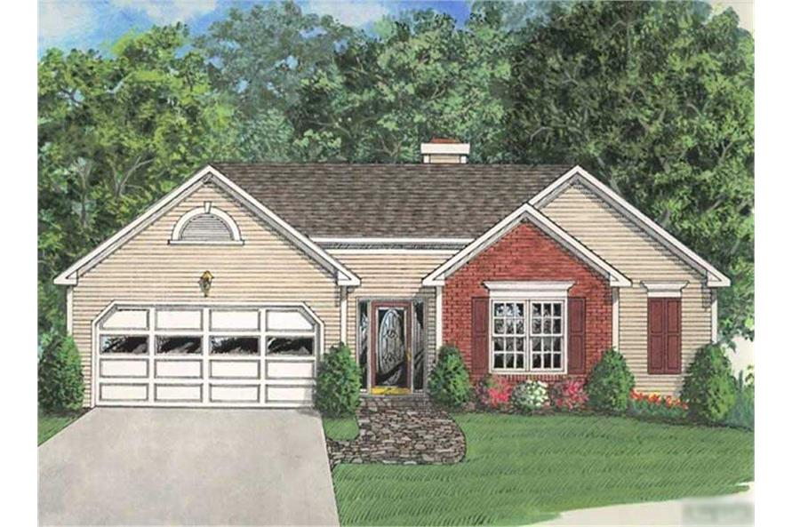 3-Bedroom, 1296 Sq Ft Small House Plans - 109-1063 - Front Exterior