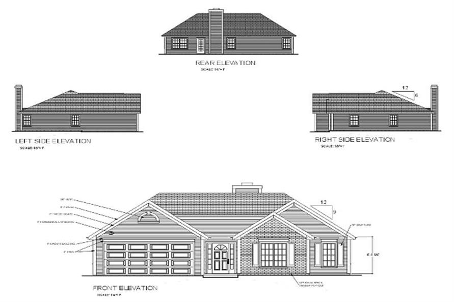 Home Plan Rear Elevation of this 3-Bedroom,1296 Sq Ft Plan -109-1063