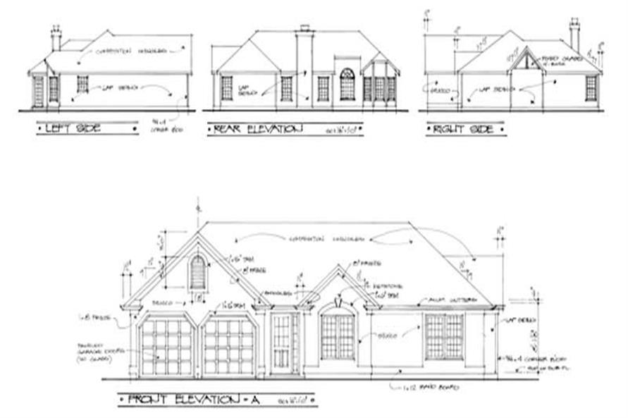 Home Plan Rear Elevation of this 3-Bedroom,1477 Sq Ft Plan -109-1064