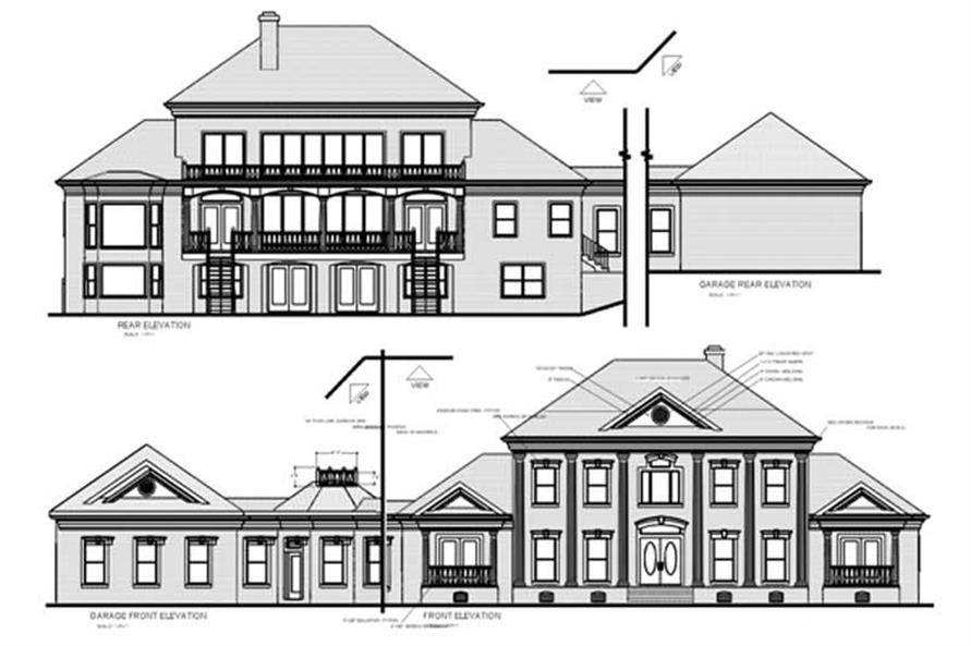 Home Plan Rear Elevation of this 4-Bedroom,3634 Sq Ft Plan -109-1069
