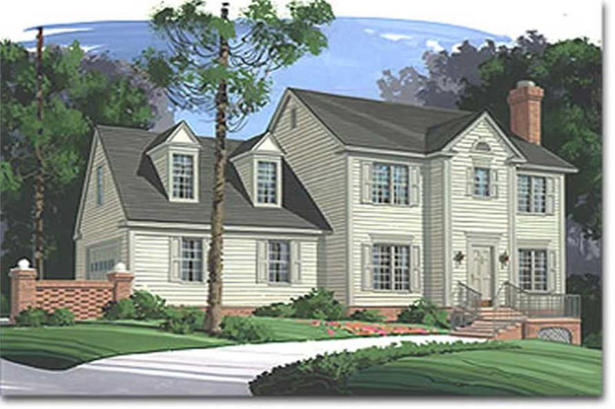 3-Bedroom, 1653 Sq Ft Colonial Home Plan - 109-1072 - Main Exterior