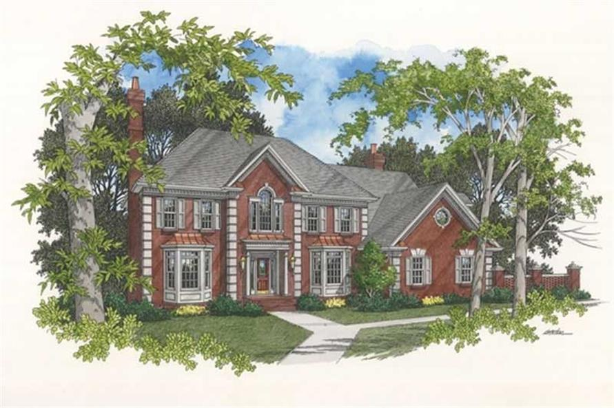 4-Bedroom, 3431 Sq Ft Colonial House Plan - 109-1074 - Front Exterior