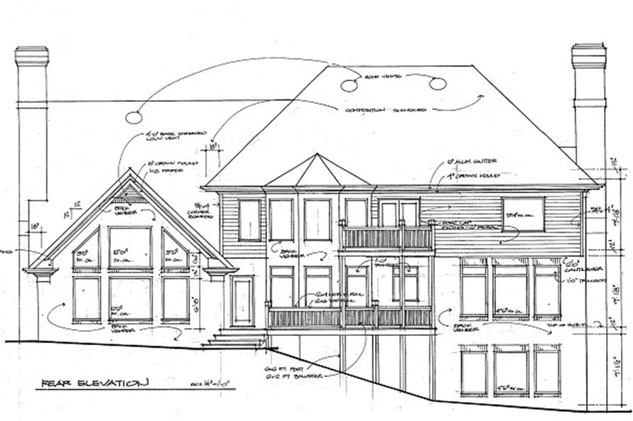 Home Plan Rear Elevation of this 4-Bedroom,3431 Sq Ft Plan -109-1074