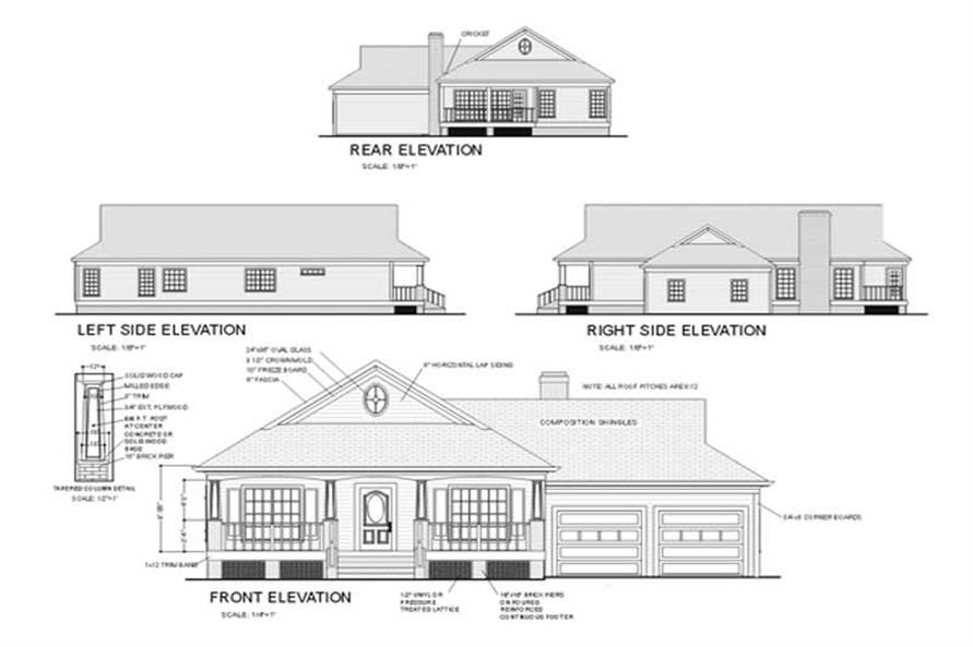 Home Plan Rear Elevation of this 3-Bedroom,1770 Sq Ft Plan -109-1076