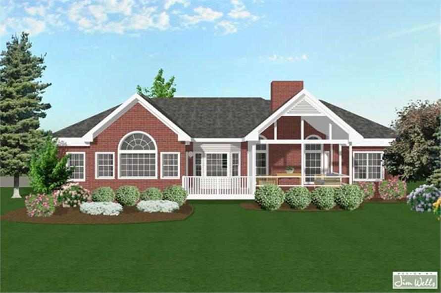 Home Plan Rear Elevation of this 3-Bedroom,1992 Sq Ft Plan -109-1079