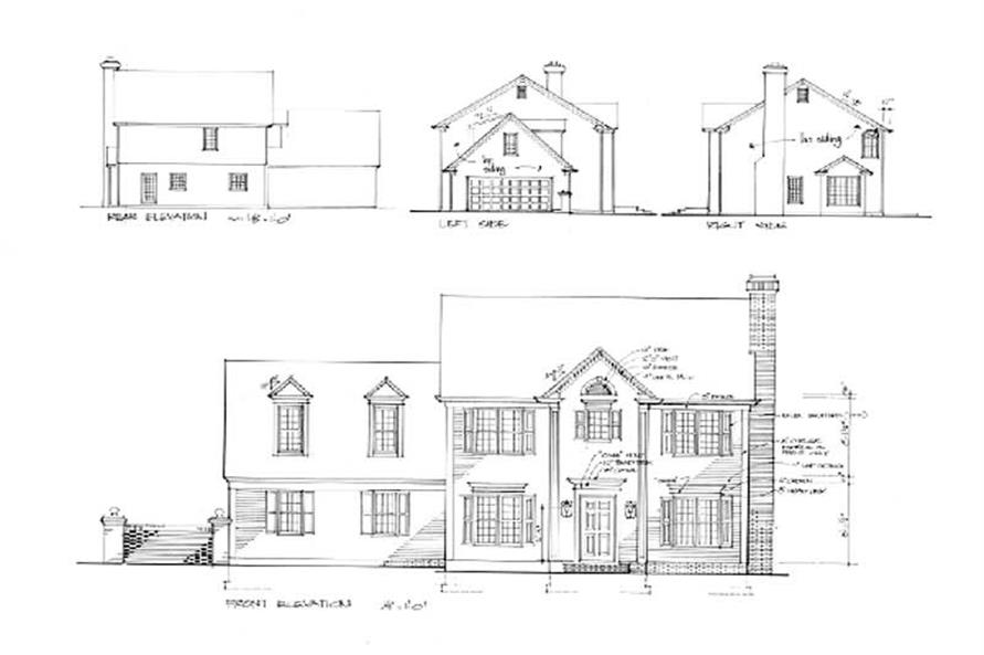 Home Plan Rear Elevation of this 3-Bedroom,1653 Sq Ft Plan -109-1081