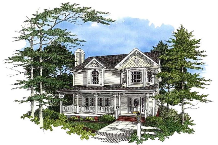 3-Bedroom, 1985 Sq Ft Colonial Home Plan - 109-1083 - Main Exterior