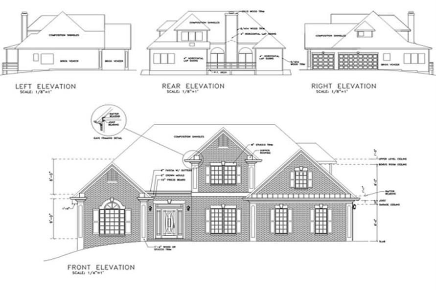 Home Plan Rear Elevation of this 3-Bedroom,1991 Sq Ft Plan -109-1084