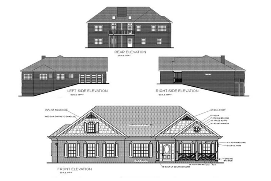 Home Plan Rear Elevation of this 3-Bedroom,1787 Sq Ft Plan -109-1086