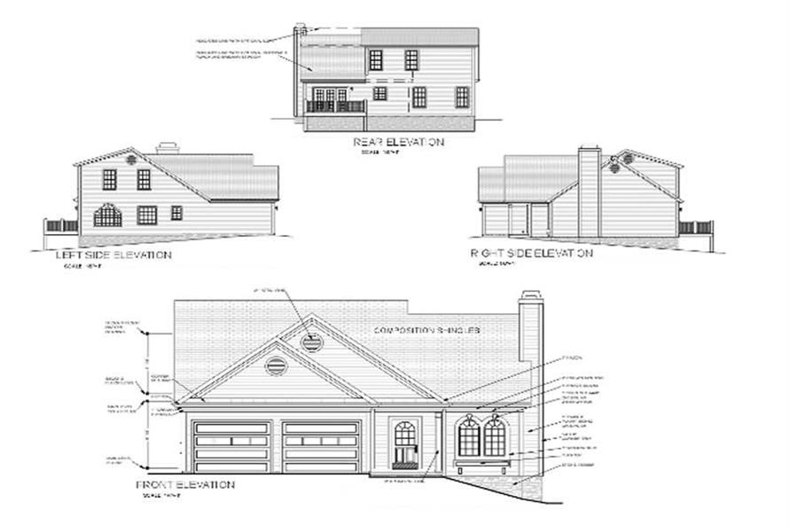 Home Plan Rear Elevation of this 3-Bedroom,1621 Sq Ft Plan -109-1089