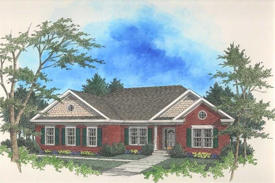 3-Bedroom, 1681 Sq Ft Ranch House Plan - 109-1090 - Front Exterior