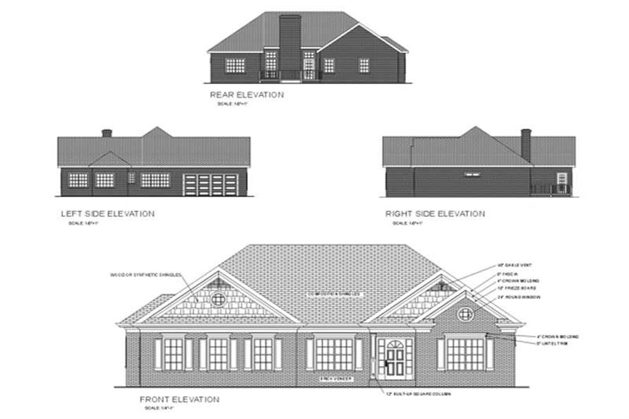 Home Plan Rear Elevation of this 3-Bedroom,1681 Sq Ft Plan -109-1090