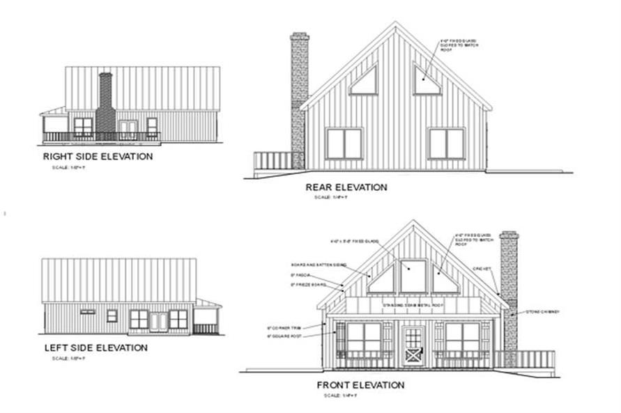 Home Plan Rear Elevation of this 3-Bedroom,1647 Sq Ft Plan -109-1091
