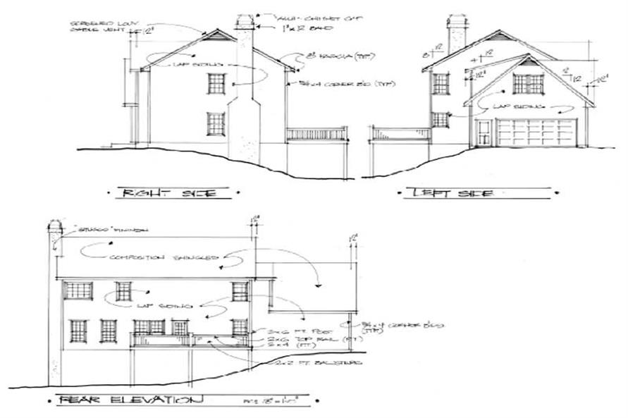 Home Plan Rear Elevation of this 3-Bedroom,1999 Sq Ft Plan -109-1096