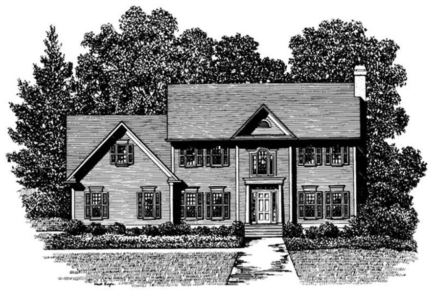 3-Bedroom, 1999 Sq Ft Colonial Home Plan - 109-1096 - Main Exterior