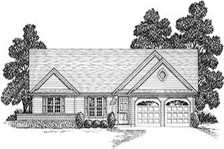 3-Bedroom, 1500 Sq Ft Ranch Home Plan - 109-1098 - Main Exterior