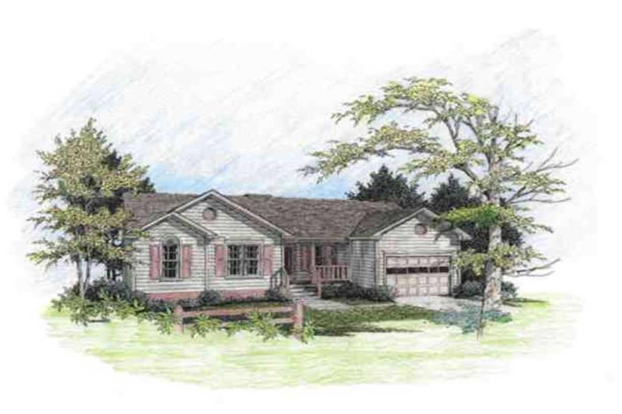3-Bedroom, 997 Sq Ft Small House Plans - 109-1102 - Front Exterior
