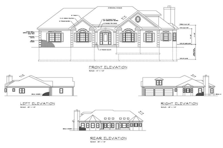 Home Plan Rear Elevation of this 3-Bedroom,2461 Sq Ft Plan -109-1103