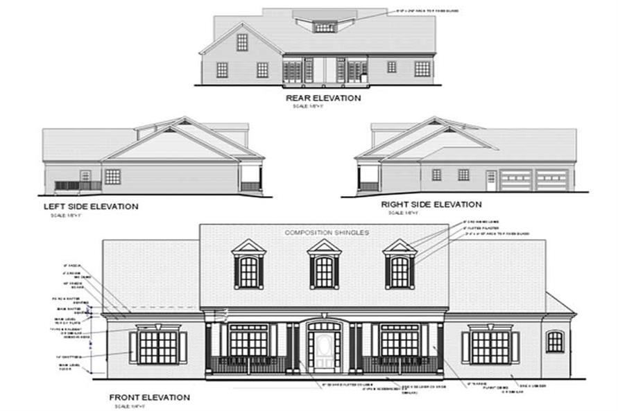 Home Plan Rear Elevation of this 4-Bedroom,1992 Sq Ft Plan -109-1112
