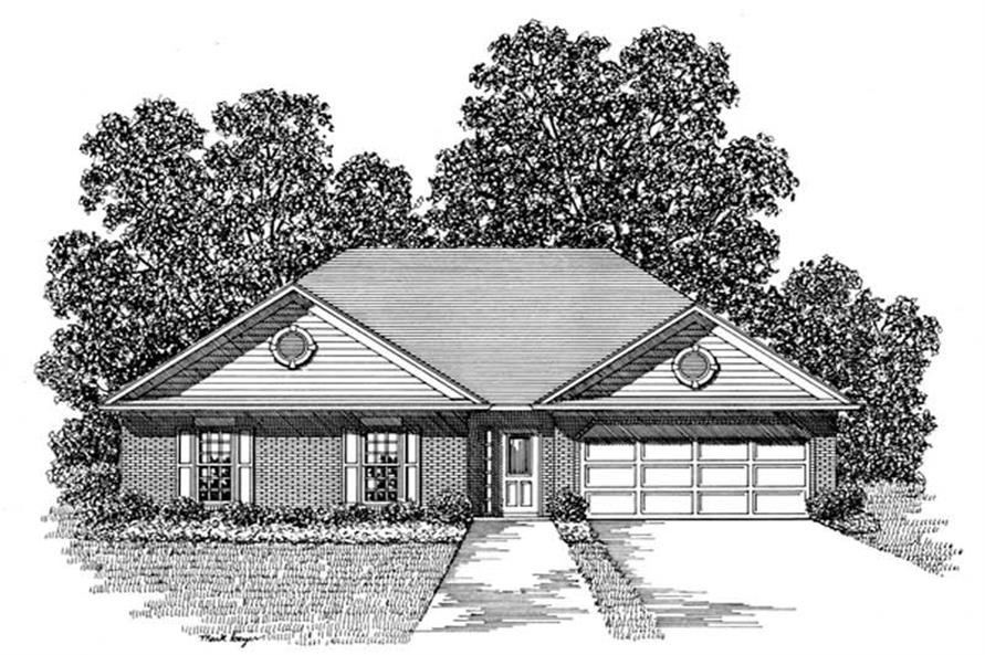 3-Bedroom, 1302 Sq Ft Small House Plans - 109-1114 - Front Exterior