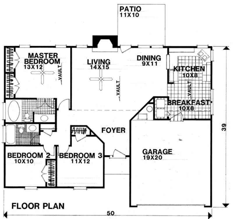 Small Traditional Home With 3 Bedrms 1302 Sq Ft Plan