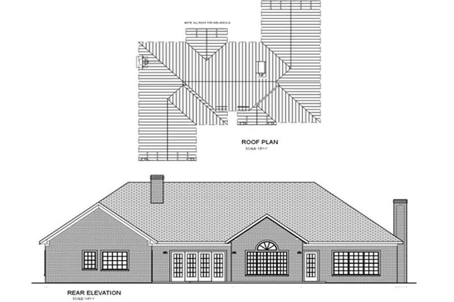 Home Plan Rear Elevation of this 4-Bedroom,2499 Sq Ft Plan -109-1117